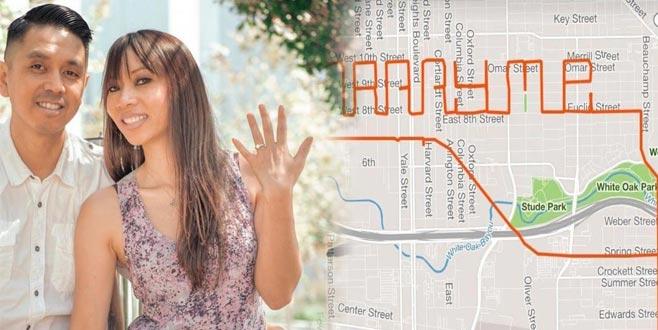 GPS haritasıyla evlenme teklifi