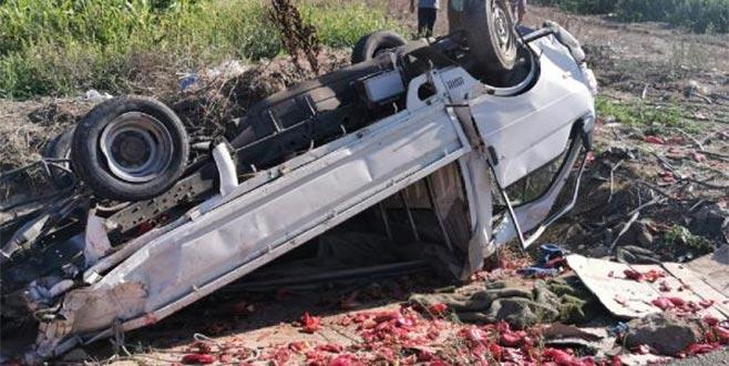 Kamyon ile kamyonet çarpıştı, biberler yola saçıldı