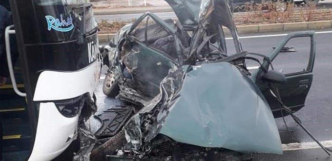 Yolcu otobüsü ile otomobil çarpıştı: 3 ölü, 1 yaralı