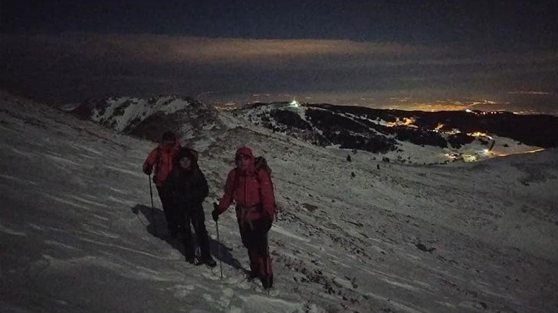 Uludağ'da -7 derecede gece yürüyüşü