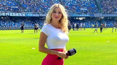Taraftarların 'Göğüslerini aç' tezahüratı yaptığı spor spikerine bir darbe daha!