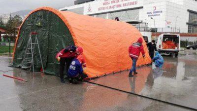 Yüksek İhtisas bahçesine 'acil müdahale' çadırları
