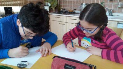Çocuklara uzaktan karikatür eğitimi