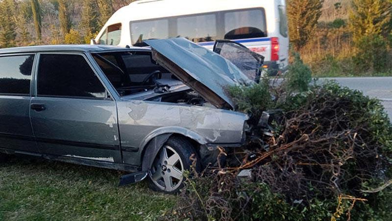 Bursa'da kaza! Ağaçlara çarparak durdu