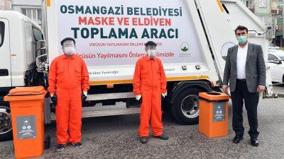 Bursa'da atık maske ve eldivenler için özel ekip