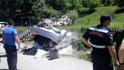 Bursa'da otomobil takla attı: Yaralılar var…