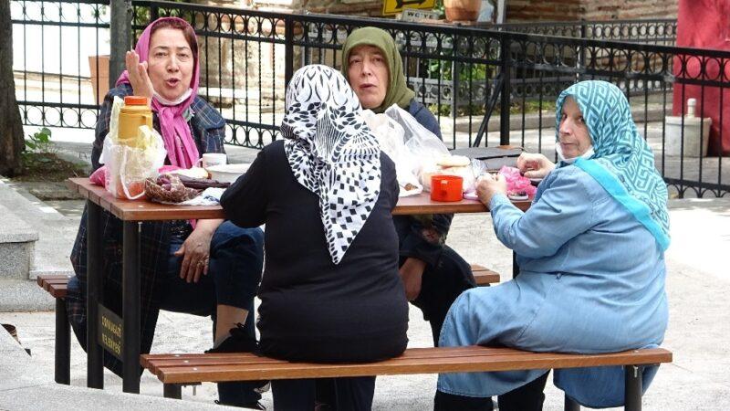 65 yaş üstü vatandaşlar piknik keyfi
