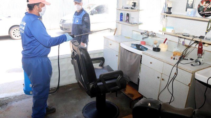 Yenişehir'de berber ve kuaför salonları dezenfekte edildi