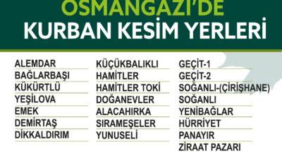 Osmangazi Belediyesi kurban kesim yerlerini açıkladı