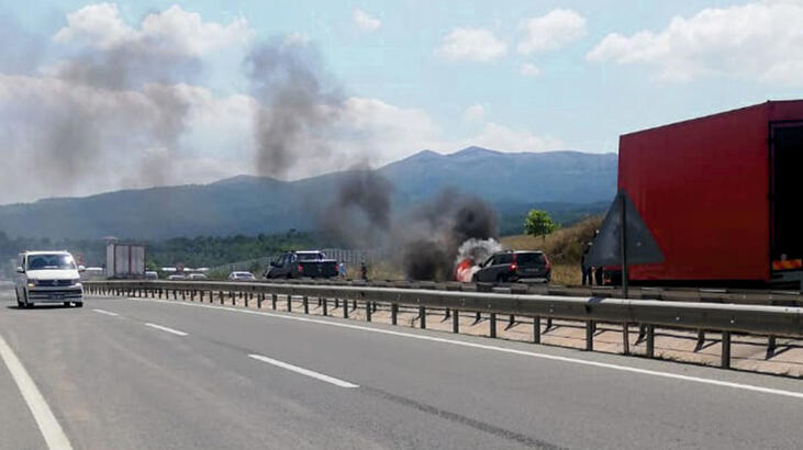 Bursa'da seyir halinde alev alev yandı