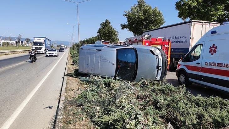 Bursa'da feci kaza! Kontrolden çıkıp takla attı
