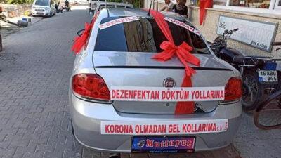 Bursa'dan gülümseten görüntü! Pandemi süreci gelin arabasına yansıdı