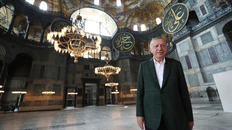 Cumhurbaşkanı Erdoğan ve Bahçeli'den Ayasofya Camii'nde inceleme