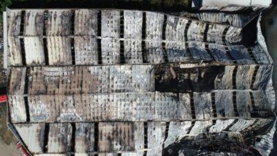 Bursa'daki yangın dehşetinden geriye kalan enkaz havadan böyle görüntülendi
