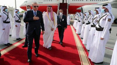 Cumhurbaşkanı Erdoğan Doha'da… Böyle karşılandı…
