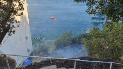 Bursa'da yangın! Ağaçlara sıçramadan söndürüldü…