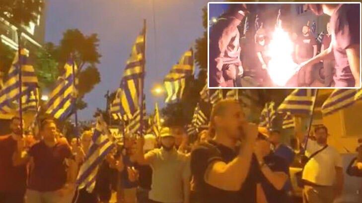 Büyükelçilik önünde toplandılar, slogan atıp Türk bayrağını yaktılar!