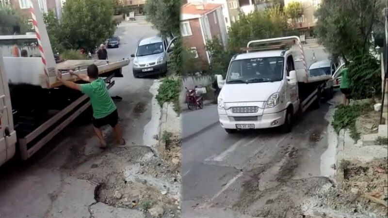 Bursa'da çekicinin iş kazası! O anlar kamerada