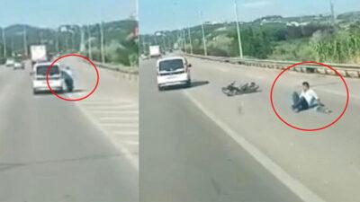 Bursa'da trafikte korku dolu anlar! Ölümden böyle döndü