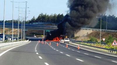 Alev alev! Yolcu otobüsünde yangın