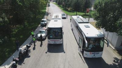 Görüntüler Bursa'dan… Otobüsler tek tek denetlendi