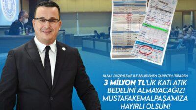 Bursa Mustafakemalpaşa Belediye Başkanı Kanar: 3 milyon liralık katı atık bedelini almayacağız