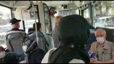 Bursa'da otobüste fazla yolcu tartışması! O anlar kamerada