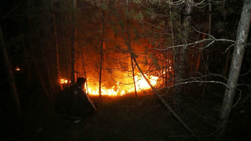 Alevler köye 150 metre kala durduruldu