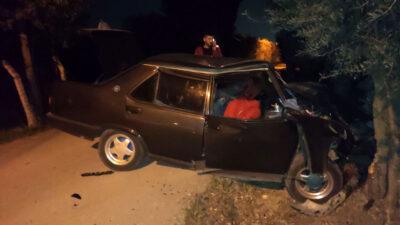 Bursa'da otomobil ağaca çarptı