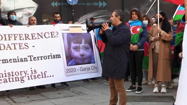 Azerbaycan Türkleri'nden Londra'da protesto gösterisi!