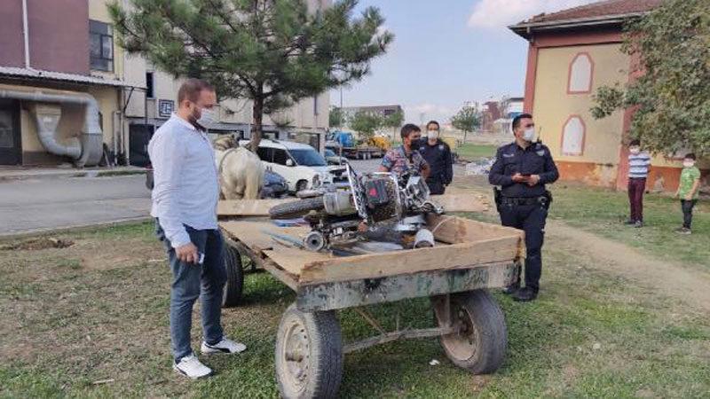 Bursa'da çaldığı motosikleti at arabasıyla götürdü, 'satın aldım' dedi