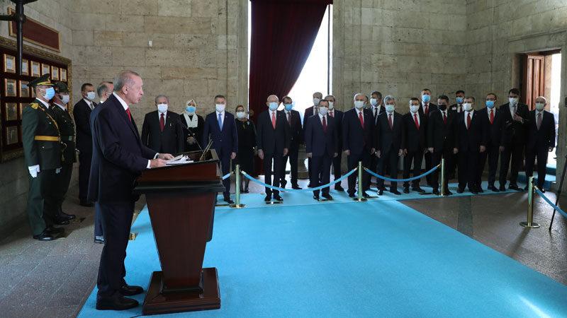 Devletin zirvesi Anıtkabir'de! Cumhurbaşkanı Erdoğan'dan 97. yıl mesajı