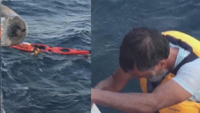 Marmara'nın ortasında kanosuna sarılmış yardım bekliyordu; Deniz otobüsüyle kurtarıldı