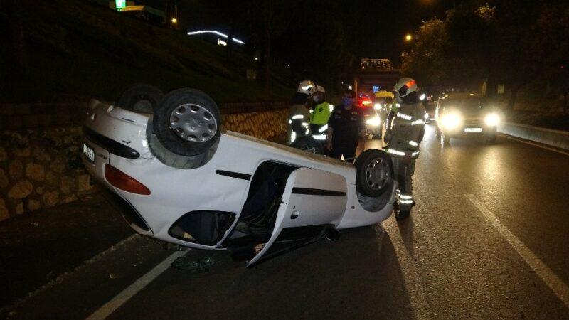 Bursa'da otomobil takla attı! Sürücünün burnu bile kanamadı