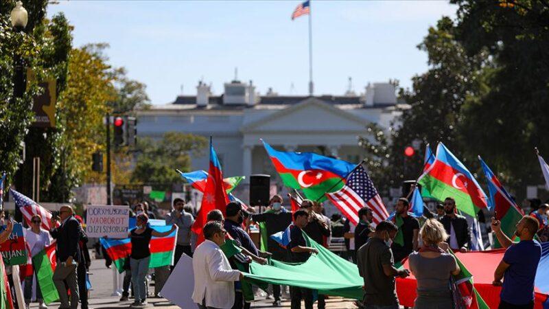 Beyaz Saray önünde Azerbaycan'a destek mitingi