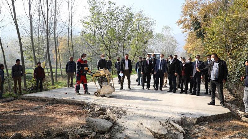 700 metrelik çevre yolu beton yolla kaplanıyor