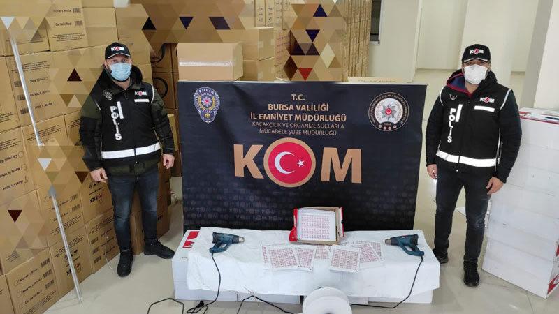 Bursa'da kaçak sigara operasyonu