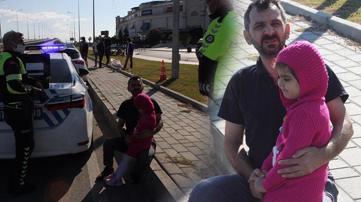 Çarptığı otomobili yoldan çıkarıp kaçtı, baba kız büyük korku yaşadı!
