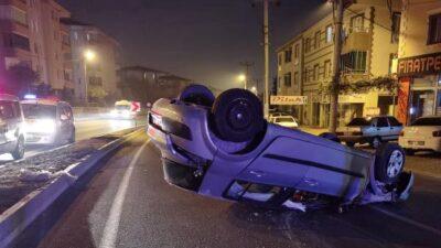 Yer: Bursa… Takla atan araçtan burnu bile kanamadan çıktı