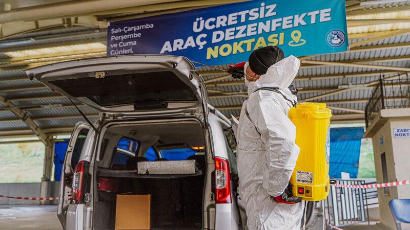 Kestel Belediyesi'nden ücretsiz araç dezenfekte hizmeti