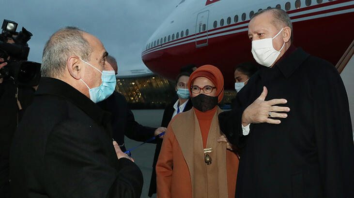 Cumhurbaşkanı Erdoğan, Azerbaycan'a geldi