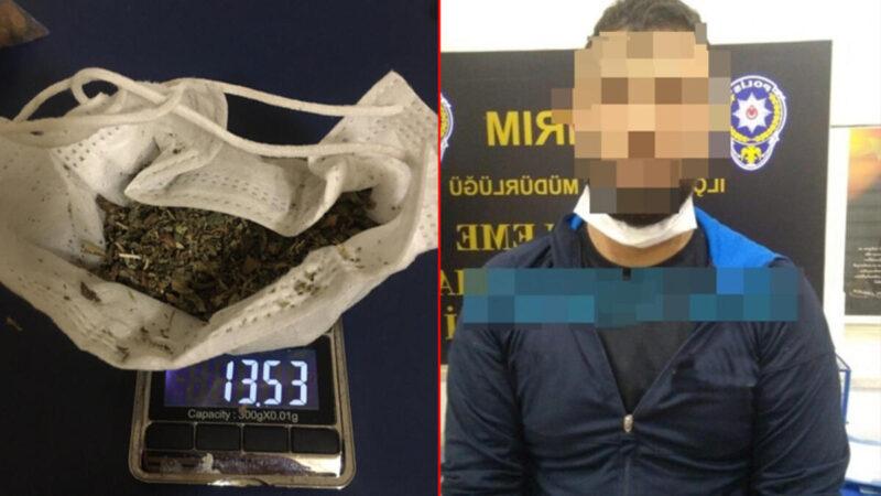 Maskeyi korona virüsten korunmak için değil uyuşturucu saklamak için kullandı