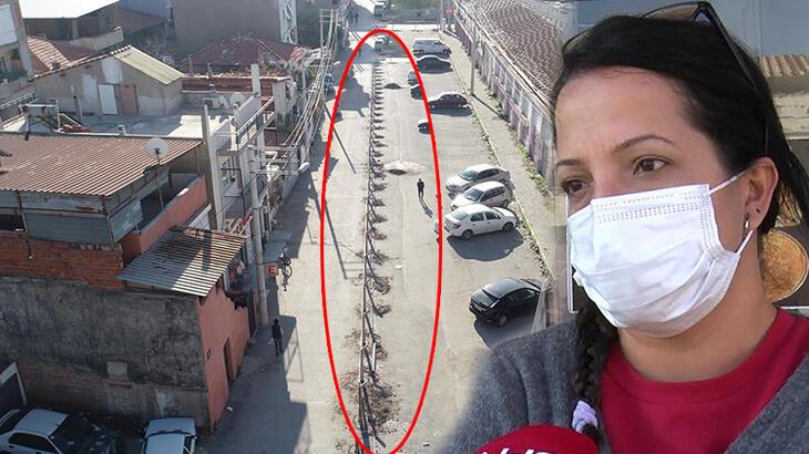 'Tapulu arazim' dediği yolu, beton çit direkleri ile böldü!