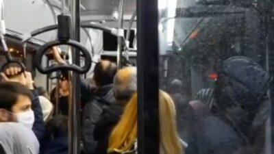 Bursa'da yolcu otobüsünde son dakika yoğunluğu tartışmaya sebep oldu