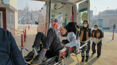 Bursa'da buzlanan yolda bisikletten düştü