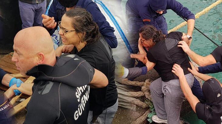 Denize dehşet! Zavallı kadın böyle kurtarıldı