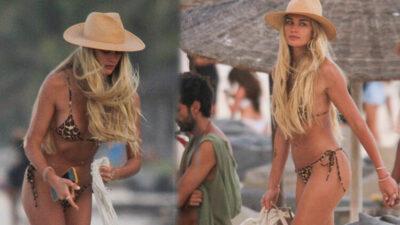 Leopar desenli bikinisiyle dikkatleri üzerine çekti!