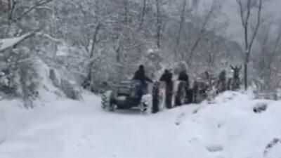 Yer: Bursa… Karda traktörle drift yaptı