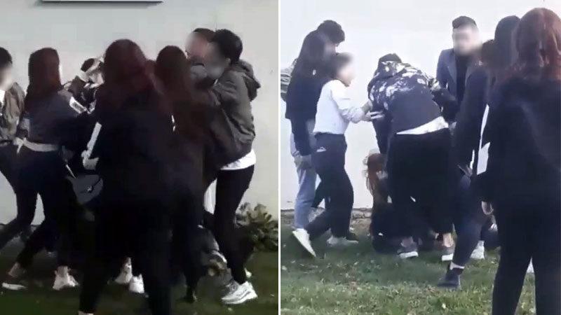 Bursa'da kızların sevgili kavgası kamerada
