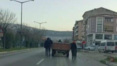 Bursa'da tehlikeli yolculuk kamerada